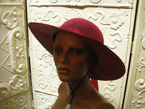 Red and Black Sunhat with Hearts