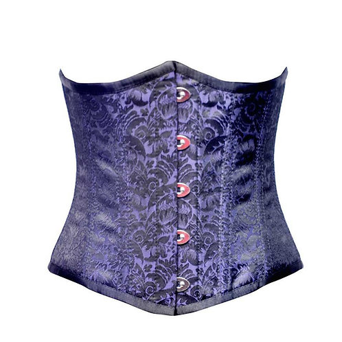 Blue and Black Brocade Under Bust Corset  Size 36