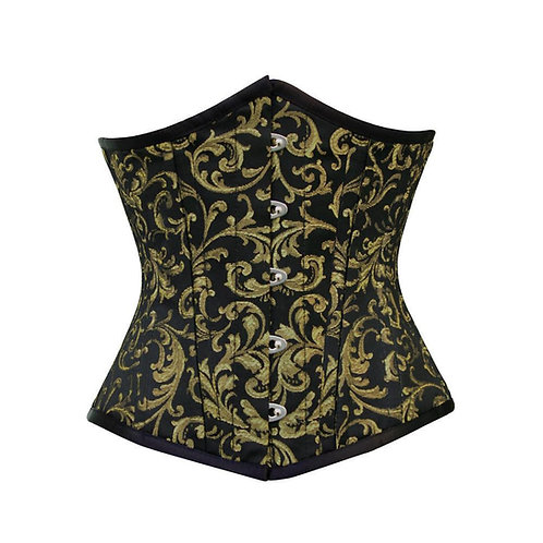 Gold and Black Brocade Under Bust Corset    Size 34