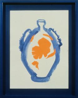 1990 - Blue Vase w Orange Poppies
