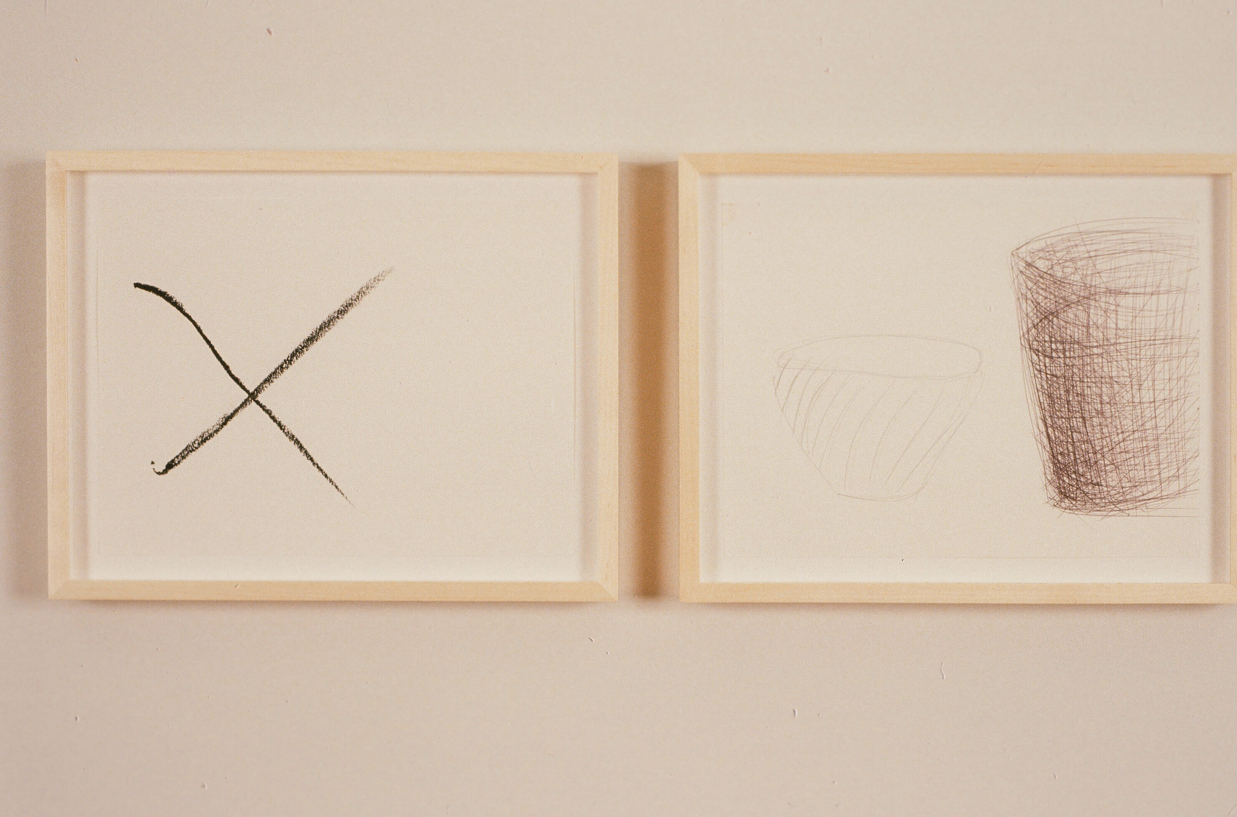 1991-Two Drawings - X and Dog Dishes