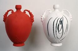 1990-Plaster Casts-Red, Black/White