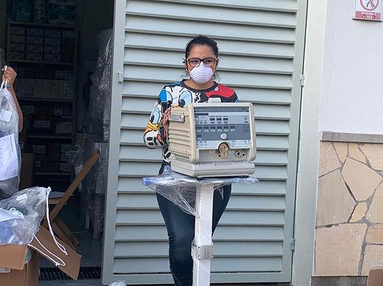 entrega de ventilador clinica covid alto