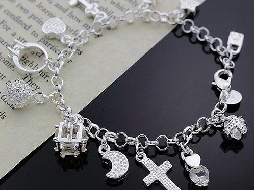Blessed Bling Silver Bracelet