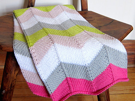 Chevron Baby Blanket in Forget Me Knot