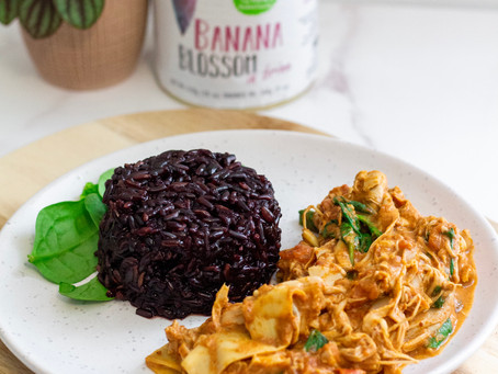 Banana Blossom Coconut Curry with Black Rice