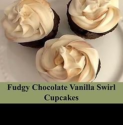 Fudgy Chocolate Vanilla swirl cupcake ta