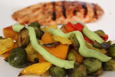 Raosted Veg with Ava dressing and chicke
