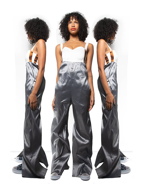 White & Charcoal Jumpsuit