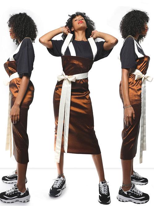 Moka stretch taffetá skirt