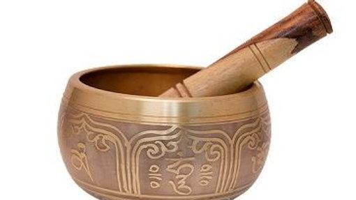"""Gold Tibetan Singing Bowl 6""""D"""