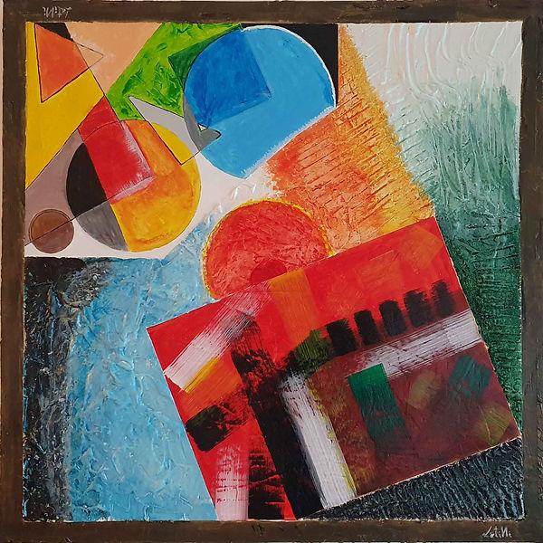 Sovrapposizioni - Quadro astratto realizzato con tecnica materica e colori acrilici. tre quadri in uno, dimensioni 70x70cm su tela (canvas)