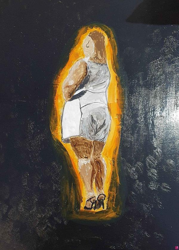 Quadro che rappresenta uan donna in carne di spalle realizzato su legno e misura 30x40cm realizzato con tecnica acrilica