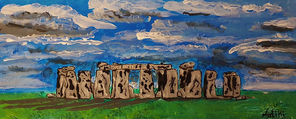 stonehenge. Quadro figurativo su legno 40x16cm tecnica acrilica con effetti di rilievo