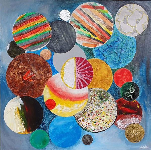 Opera con tecnica mista, acriclico,olio,materico,doratura,ramatura,argentatura, realizzato su tela (canvas) 80x80cm