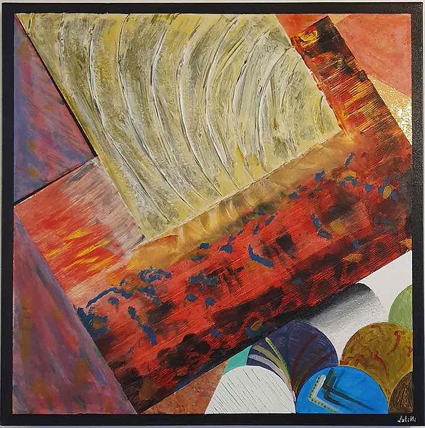 """L'opera si compone di più dipinti realizzati con sia con pennello che spatola. I materiali impiegati sono: colori acrilici, gesso acrilico, stucco, pasta d'oro e fogli di rame. La motivazione del titolo """"Impressioni"""" è dato perché l'opera è stata realizzata in più riprese imprimendo sulla tela le impressioni e lo stato d'animo del momento in cui è stato concepito."""