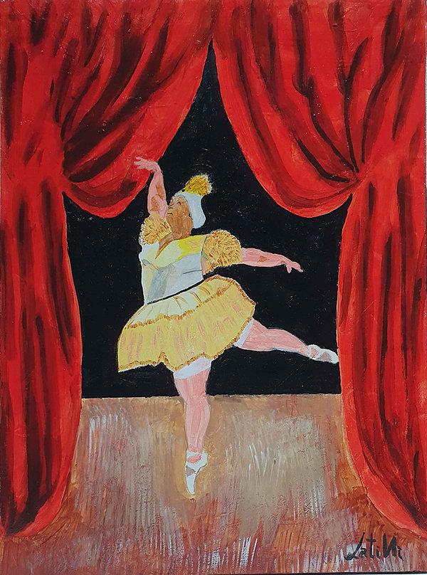 Quadro realizzato su legno 40x30c, con teca acrilica rappresenta una Ballerina in carne sul palco di un teatro.