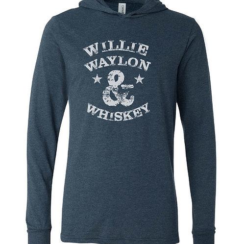 Willie, Waylon, & Whiskey jersey hoodie