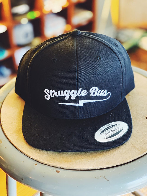 Struggle Bus lightning logo on solid black snapback