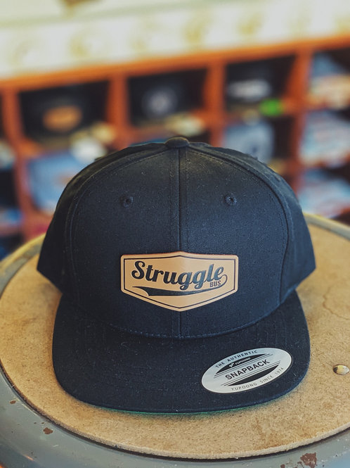 Kid's Struggle Bus leather patch on solid black snapback