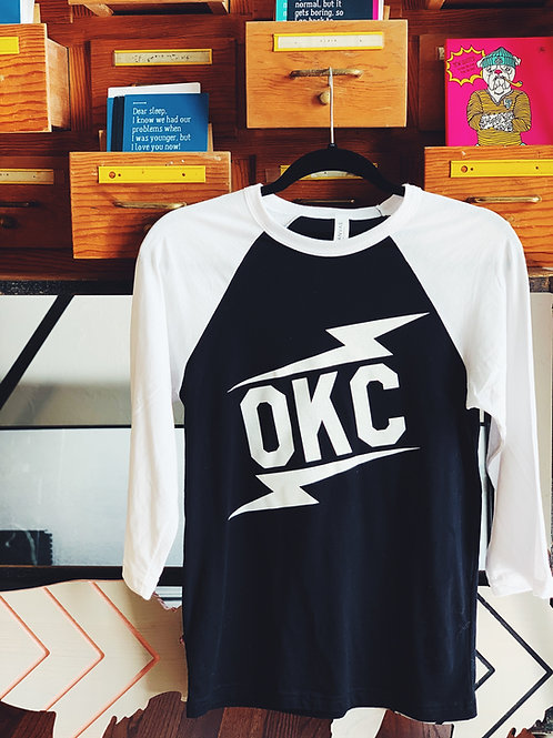 OKC double bolt raglan tee