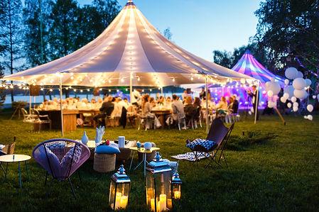 Colorful wedding tents at night. Wedding
