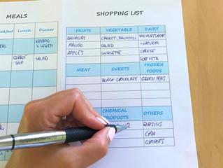 Organized shopping list and weekly menu