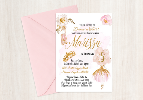 Ballet Dream Birthday Invitation