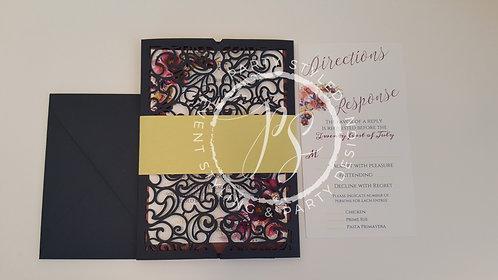 """""""Vivian"""" Navy Wedding Invitation Suite"""