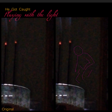 Small Spirit shadow person manifests beside incense