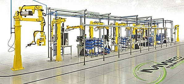 Multi robot assembly line wth AGV cart integration