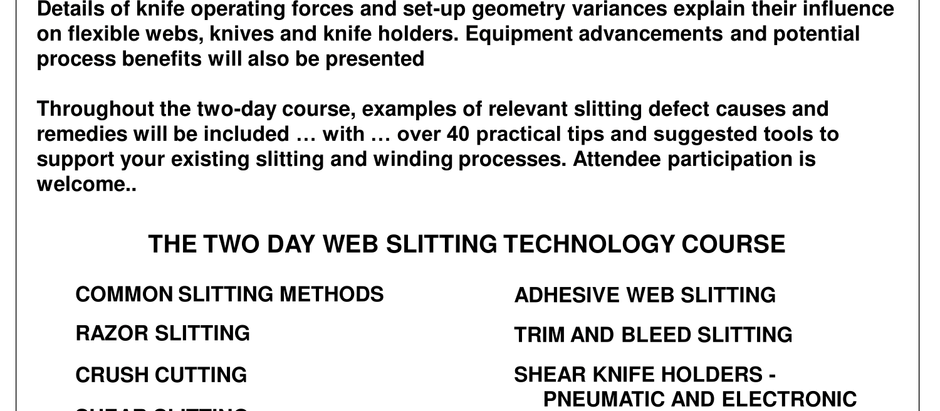 AIMCAL Two Day Web Slitting Technology Course