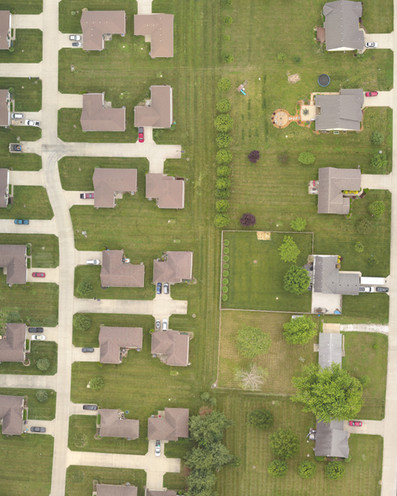 Aerial Photo of Neighbohood taken with drone in Terre Haute Indiana.