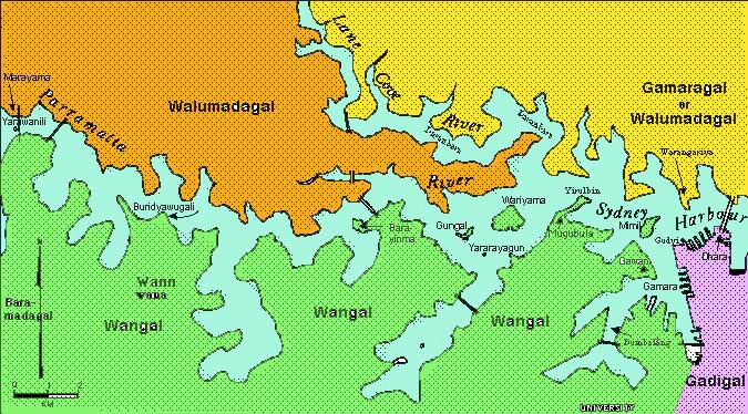 Map of Sydney Harbour West Aboriginal language groups