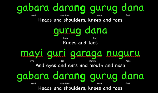 Heads and Shoulders, knees and toes - Translated into the Sydney Aboriginal Language