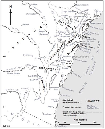 Map of South Coastal Aboriginal language groups