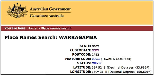 Aboriginal Languages of Australia - Bayala database place name search