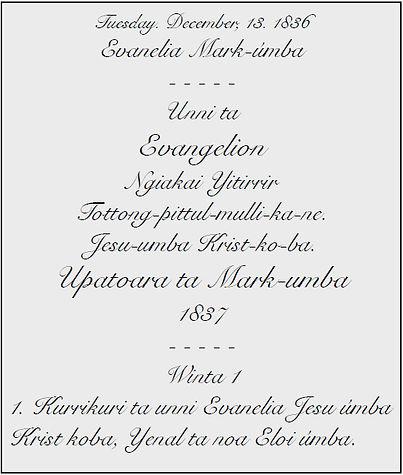 Threlkeld aboriginal language translation