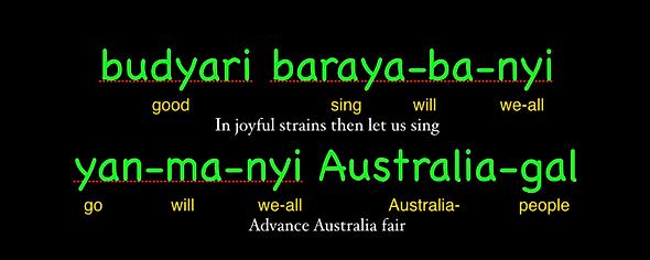 Advance Australia Fair with aboriginal translation