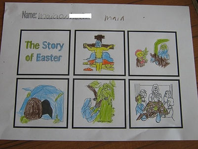 Colouring, cutting out and sequencing the events of Holy Week, P1/2 St Gerard's, Bellshill