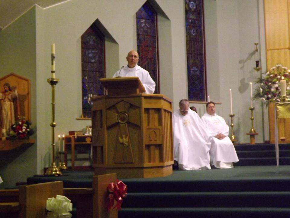 Mgr Millar preaching at Fr Travers' Mass of Thanksgiving