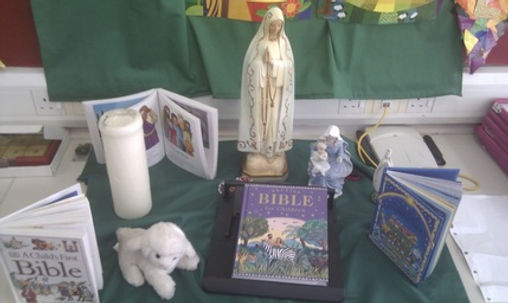 Class prayer space/altar, P1 St Bernadette's Motherwell