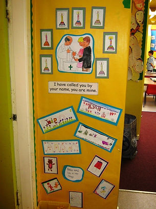Parts of the church colouring and labelling, OLGA Cathedral primary, Motherwell