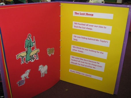 The Lost Sheep in P1's Mega Story Book, St Bernadette's Motherwell