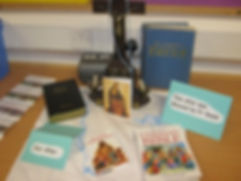 Bibles on class altar, St Bride's Bothwell
