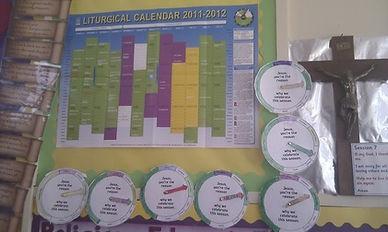 Liturgical calendar and wheels, St Bernadette's Motherwell