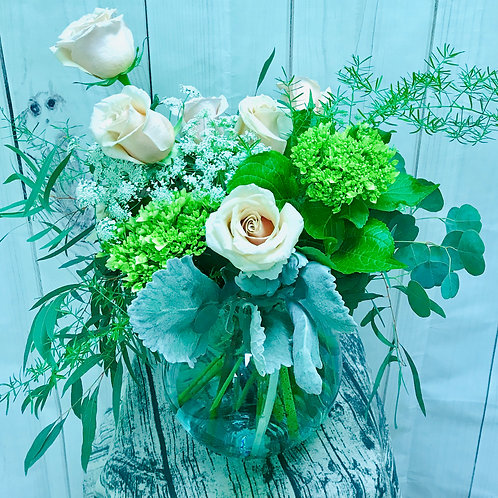 Neutrals and greens in a vase