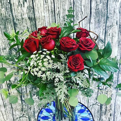 Full Dozen Roses in a vase