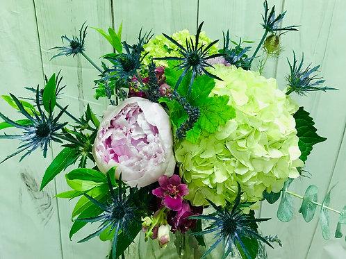 pinks, whites, purples with hydrangea