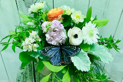 Spring Vase Arrangement with Butterfly